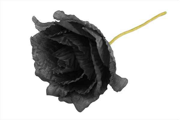 Black Polyester Corsage Rose