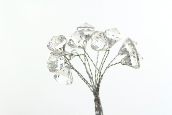 Clear Silver effect pick on wire stems as bunches of 12 wrapped together.