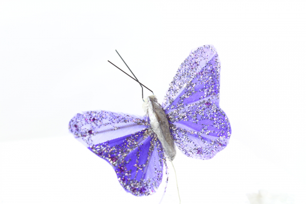 Our Lilac large artificial Butterfly on steel wire stem