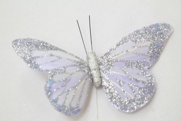 Large Lavender Colour Glittered Butterfly.