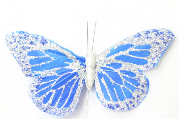 Large Royal Blue Butterfly. Covered in Glitter which has been patterned