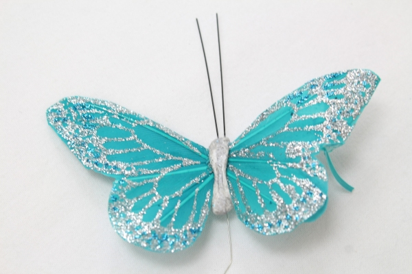 Turquoise Coloured Butterfly, Coated in Glitter.
