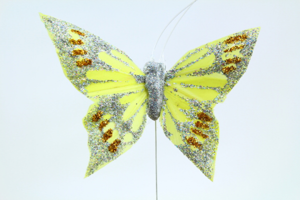 Yellow decorative glitter Butterfly on steel wire