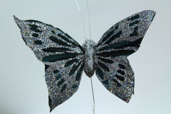 Silver glitter on Black wings, artificial decorative Butterfly on a wire stem
