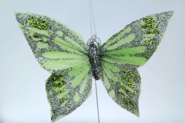 Lime coloured decoration Butterfly for craft making.