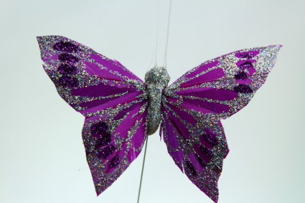 Burgundy artificial Butterfly on a wire stem for cake, table and flower decoration.
