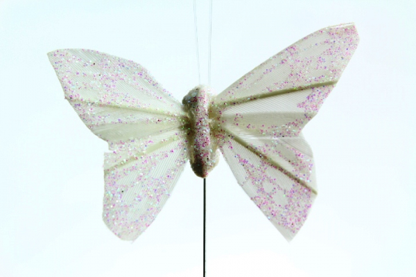 The white artificial Butterfly on wire stem.