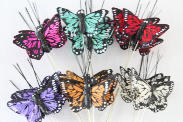 12 Large Multi Coloured Real Feather Butterflies 6 Colours Weddings Crafts