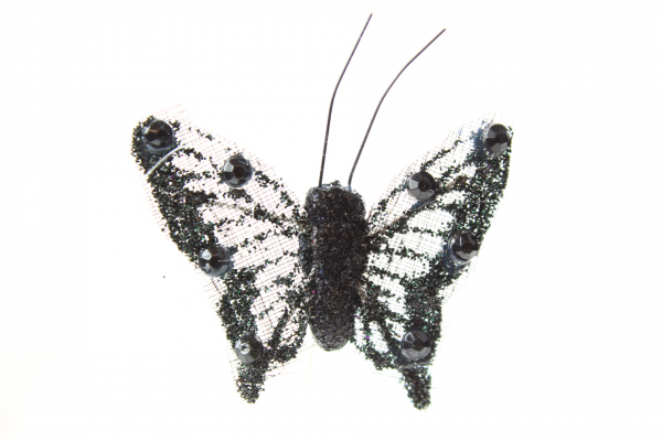 Mini black Butterfly with 4cm wings and steel wire.