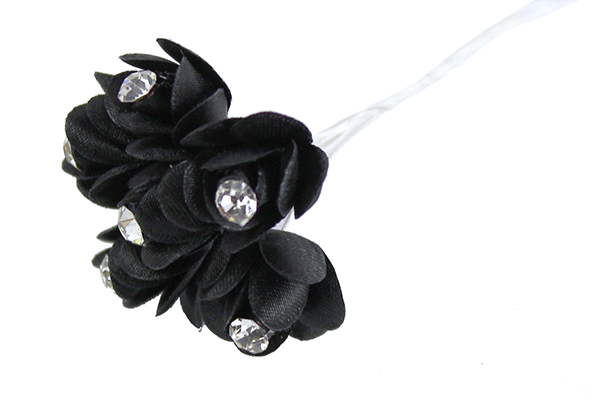 Satin Rose Bud With Diamante Centre