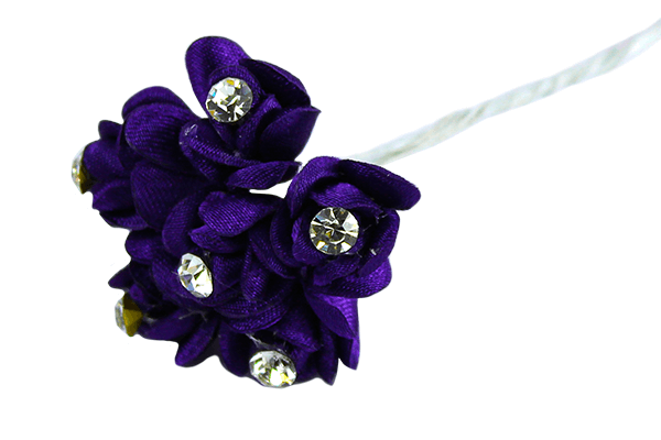 Purple Satin Rose Bud with Diamante Centre