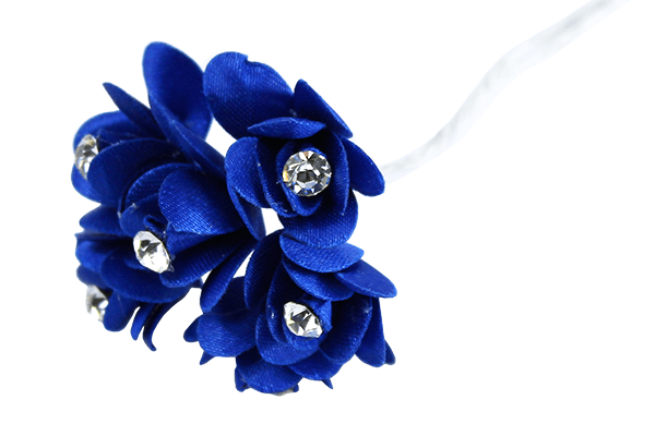 Royal Blue Satin Rose Bud with Diamante Centre