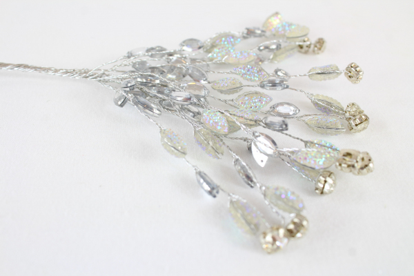 Iridescent Diamante Rhinestone Vintage Gem Pick With 8mm Clear/Silver