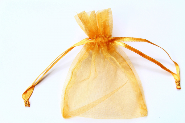 Our dark version of the two small gold Organza bags we supply.