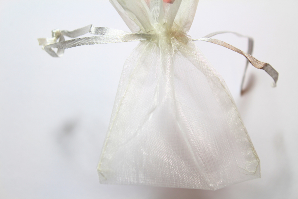 The Ivory Organza bag.  Our smallest wedding favours bag.
