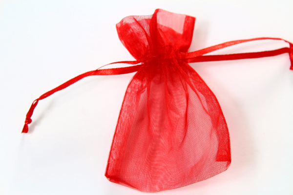 Our Red Oganza bag for wedding favours.