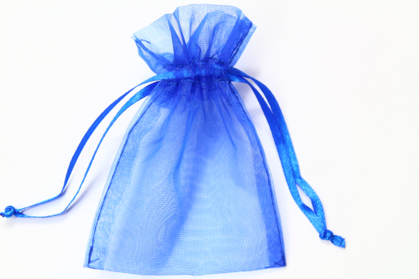 Our smallest Organza bag in Royal Blue.