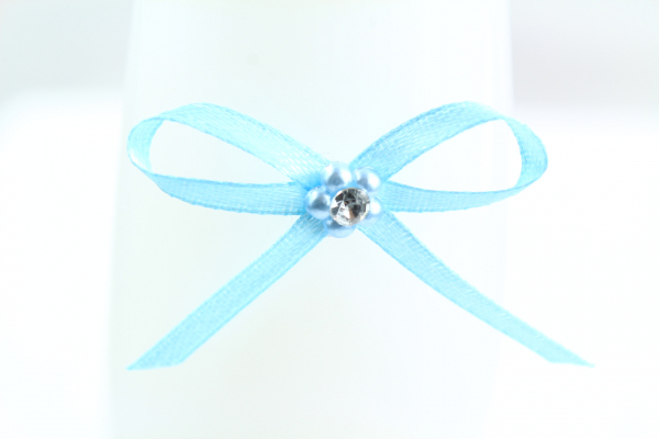 Small light blue ribbon bow with adhesive pad