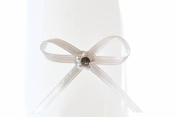3mm wide Ivory flower bow