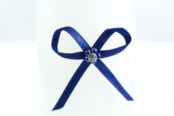 Navy Blue craft bow with sticky pad for card decoration and much more