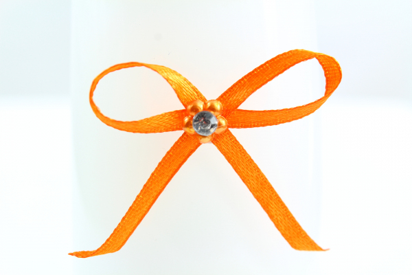 3mm wide orange bow with diamonte stone center