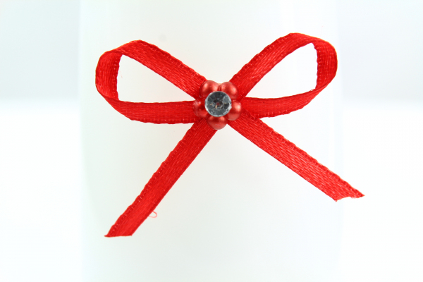 Vibrant red craft bow with diamonte center