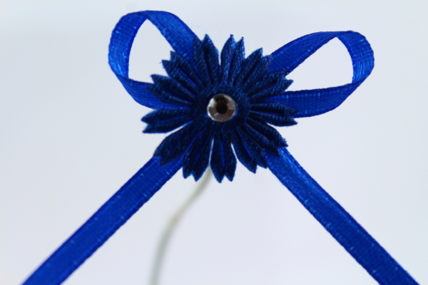 Royal Blue daisy ribbon bow with adhesive pad