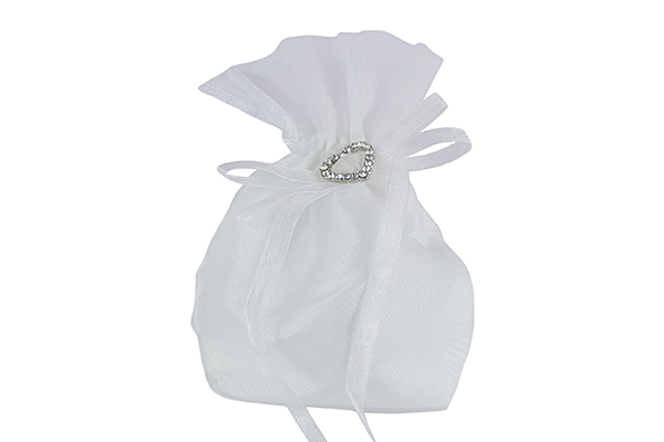 White Satin Dolly Bag with Diamanté Heart