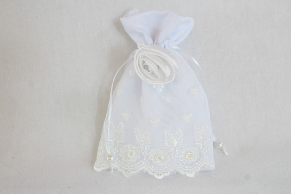 Satin Pouch With Lace Rhinestone Dolly Bag for bridesmaids Flower Girl