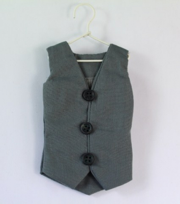 Grey waistcoat with hidden Organza bag inside.