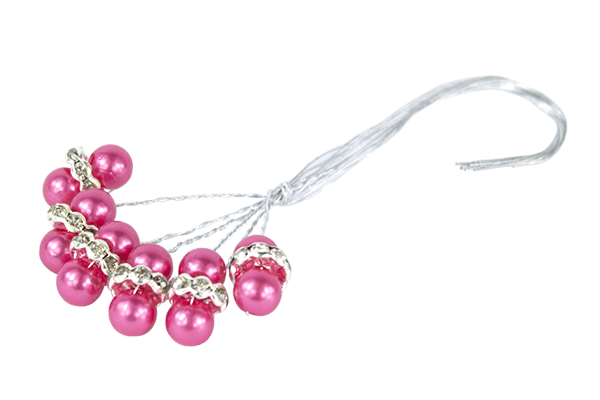 Hot pink faberge pearl beads