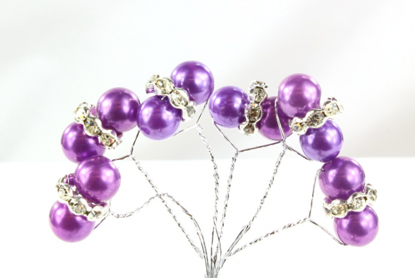 Our dark Purple faberge pearl pick stems