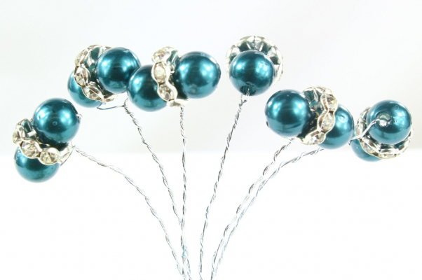 Our beautiful Teal beaded pick stems