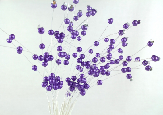 Our stunning Purple beaded pick stems