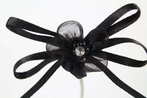 Our stunning black chiffon ribbon bow