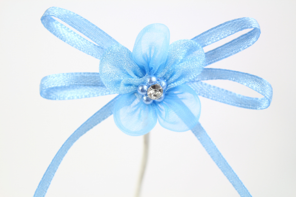 Our beautiful blue Chiffon flower adhesive bow