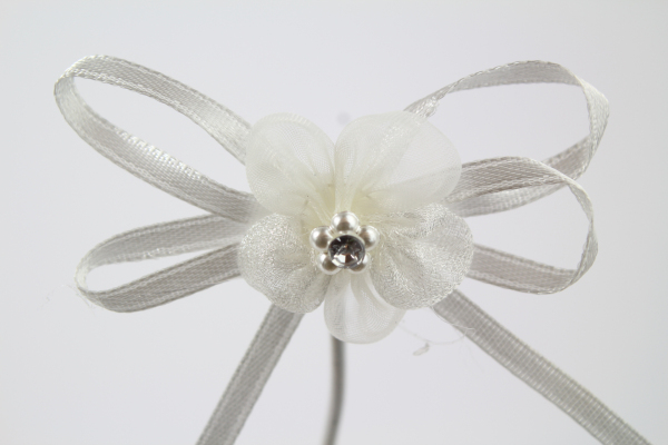 Our chiffon flower bow in Ivory perfect for crafting