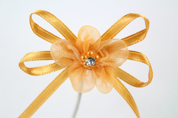 Our stunning Gold chiffon flower bow