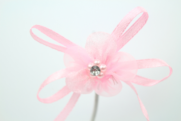 Our beautiful Light Pink chiffon flower bow