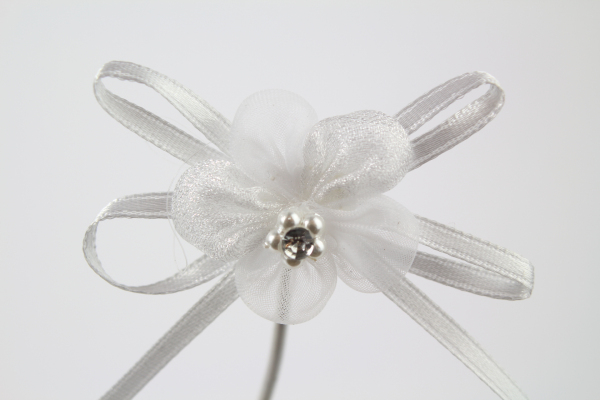 White chiffon flower bow with diamante center and adhesive backing