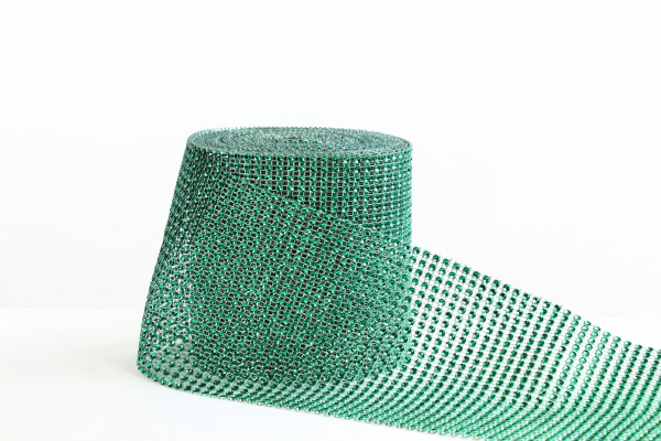 Green bling roll with matching green netting with artificial diamond stones 12cm wide.