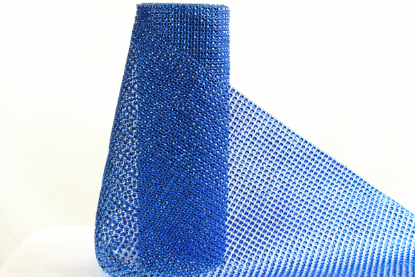 Our Blue 24cm wide decorative netting with artificial diamond stones.