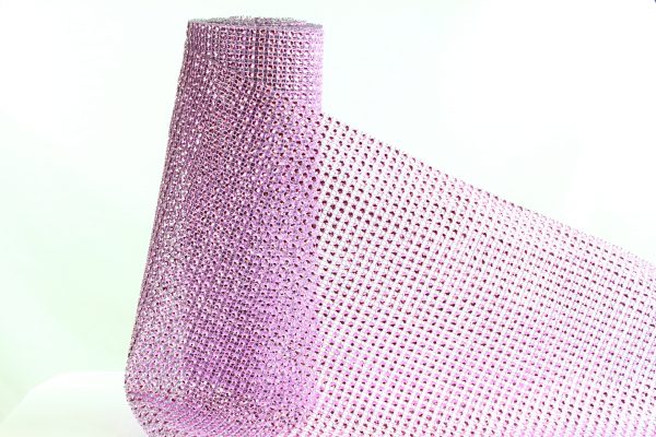 Our bling roll rhinestone mesh ribbon in Lilac.