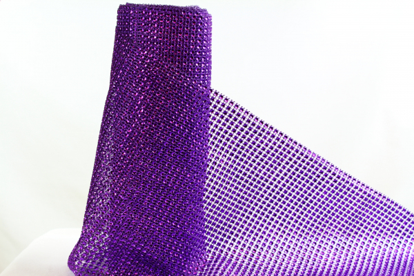 Purple bling roll rhinestone mesh ribbon 24cm wide and 5m long.