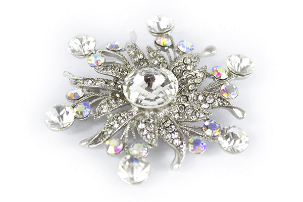 Large Snow Flake Diamante Brooch