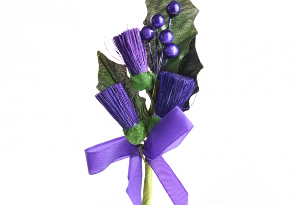 Our beautiful thistle heads with beads and ribbon bow on a stem