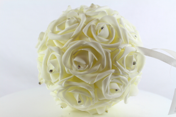 Cream Pomander foam Roses with diamante centres.