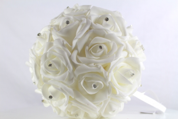 White on White, no Green foliage 18cm foam Rose Pomander.