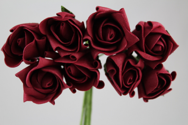 Burgundy Rolled Rose bunch of eight buds.