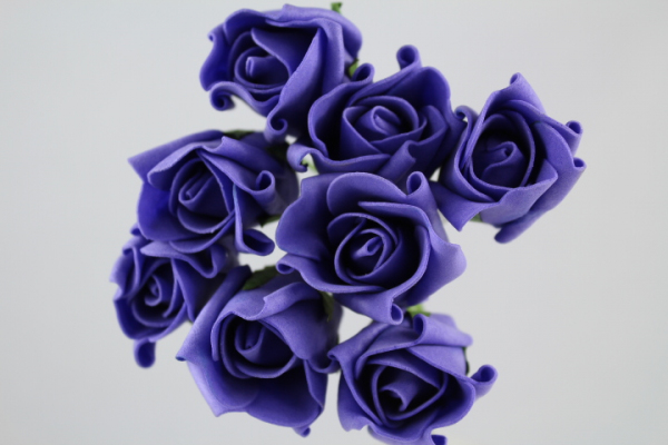 Purple Rolled Artificial Roses In Bunches Of Eight